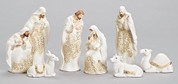 8 Piece Contemporary Nativity Set Includes Jesus Mary Joseph 3 Kings 1 Donkey 1 Ox and 1 Camel Porcelain White With Gold Accents Tallest Piece Stands 7 inches RO31380