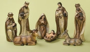 8 Piece Nativity Set Includes Jesus Mary Joseph 3 Kings 1 Donkey & 1 Cow Smooth Faux Wood Look Earth Tones Tallest Piece is 12 inches made of resin RO31414