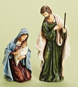 2 Piece Traditional Nativity Holy Family made Resin tallest piece 12 inches RO31430