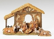 8 Piece Fontanini Nativity Set & Stable Includes Jesus Mary Joseph 3 Lambs 1 Donkey and 1 Ox from Heirloom 5-Inch Scale Collection Stable is Included RO54464