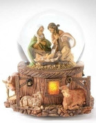1 Piece Nativity Holy family Glitterdome with stable animals at base by Fontanini stands 5 and 3 quarter inches tall RO66129