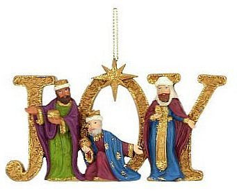 Three Wise Men Christmas Ornament  Gold JOY  Lively Colors  4