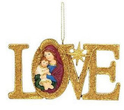 Madonna and Child Christmas Gold Ornament Word Love with Star made of Resin stands 4 inches tall MAR3653700B