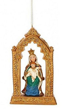 Madonna & Child Christmas Ornament Ornate Design Gold Arch stands 5 inches tall MAR3653704B