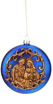 Holy Family Christmas Ornament Antique-Look Gold Image on Blue Glass Globe with 4 inch diameter MAR3653742A