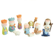 Betsey Cavallo 10 Piece Nativity Set includes Jesus Mary Joseph 1 Shepherd 3 Kings 1 Lamb 1 Donkey & 1 Camel made of clay dough tallest piece measures 4 and 1 half inches tall RAZ3416395