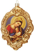 Madonna And Child Christmas Ornament Unique Shape Gold Glass 6 inches RAZ3520039B