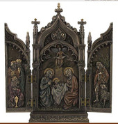 Nativity Triptych on Cathedral Setting Cold Cast Bronze With Color Accents stands 8 and 7 eighths inches USIWU76727A4