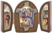Holy Family Triptych shows Holy Family & Kneeling Shepherds on each side measure 7 point 81 inches Italian import VITFL4N5