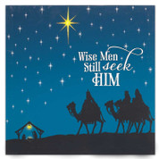 Wise Men Wall Art Lighted Print Canvas says Wise men still seek him light shines through stars requires 3 double a batteries measures 12 inches by 12 inches DICHCANV2