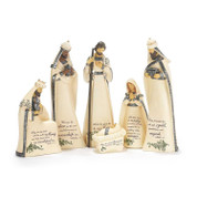6 Pc Contemporary Nativity Scripture on cream & Silver includes Jesus Mary Joseph and 3 kings each measuring approximately 13 inches tall DICHNAT2006