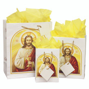 First Communion Gift Bag with Christ & Blessed Sacrament comes with tissue and gift tag select from 3 Sizes PR7
