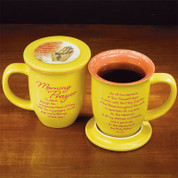 yellow Morning Prayer Mug with Consecration prayer and Lid That Doubles As Coaster Ceramic holds 14 Ounces 4 and 3 eighths inches tall AB56473T