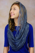 Infinity Scarf Mantilla Veil Lightweight Lace With Scalloped Edges Charcoal Blue measures 20 inches when folded VBLLDISMCH