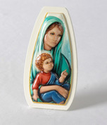 Plaque Madonna and Child White Wood TANMC1000A