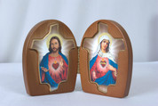 Diptych Immaculate Heart of Mary and Sacred Heart of Jesus Wood VIF4SC