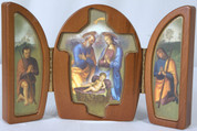 Triptych Holy Family Manager with Shepherds Wooden VITFE4N33