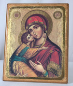 Icon Vladimir Madonna & Child Russian Wooden Plaque VIVE11I