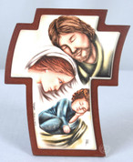 Holy Family Cross Curved Brown Cross Holy Family on Curved Cross Color Image Resin measures 4 and 1 third inches TANSC4125