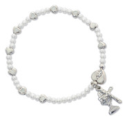 First Communion Bracelet Rhodium Crucifix Miraculous medal and blessed sacrment with faux pearl and heart beads and Claw Clasp measures 6 and 1 half inches MABR405C