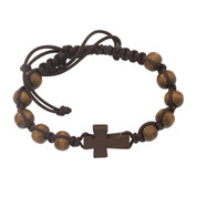 Wood Cross Bracelet with Woven Band around Wood Beads with slip knot size adjustment MABR688