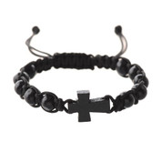 Black Wood Cross Bracelet with Woven Band around Wood Beads with slip knot size adjustment MABR689