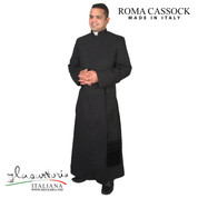 Black Cassock with Poly Wool Blend Roma fabric with buttons Made In Italy Sartoria SARR
