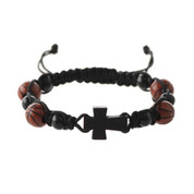 Wood Cross Bracelet with Woven Band around Wood Beads and plastic soccer basketball beads with slip knot size adjustment MABR695