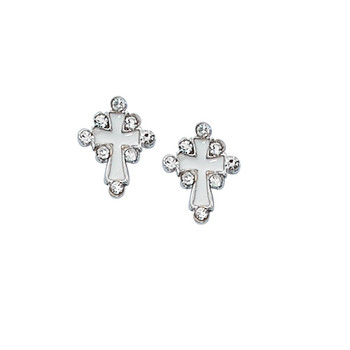 Cross Earrings Silver With White Enamel and Crystal Accents on Surgical Steel Posts with Gift Box MAEAR12