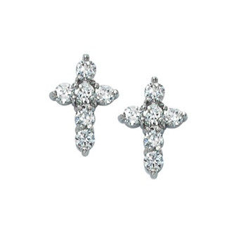 Cross Earrings made of Cubic Zirconia with surgical steel posts MAEAR11
