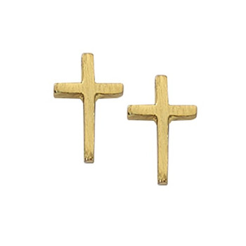 Earrings Gold Plated Plain Cross MAEAR8