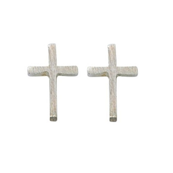 Cross Studs Earrings with Brushed Silver Plate finish and Surgical Steel Posts come in Gift Box MAEAR9