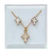 Cross Necklace & Earrings Set | White Enamel & Gold | Crystal Accents