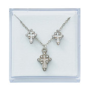 Cross-Necklace-and-Earrings-Set-White-Enamel-and-silver-with-Crystal-Accents-are-Gold-Plated-and-come-in-Gift-Box-MAPES12