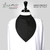 Clergy Mini Front Rabat in black with white soft collar and white button Made in Italy SARMF