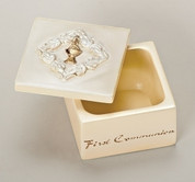 First Communion Keepsake Box with Blessed Sacrament and Leaf Embellishments made of Resin Dolomite mix measures 2 by 2 by 1 and 1 half inches RO49370