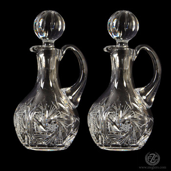 Polish Cruets tall made in poland with 24 percent lead and hand etched design with stoppers that holds 7 point 8 ounces ZW403