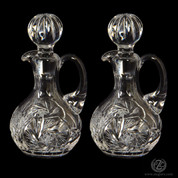 Polish Cruets short made in poland with 24 percent lead hand etched design with stoppers that holds 4 point 4 ounces ZW406