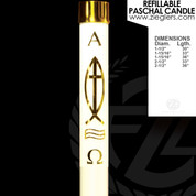 Brass Ithacus fish Refillable Paschal Candle with alpha and omega letters includes a brass follower LNRI