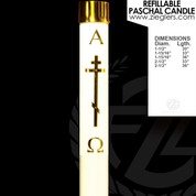 Brass Byzantine Cross Refillable Paschal Candle with alpha and omega letters includes a brass follower LNRJ