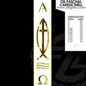 Brass Ithacus Fish and cross Oil Paschal Candle with alpha and omega letters LNI
