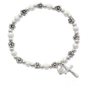 Stretch Bracelet with White Pearls and Flower Beads Rhodium Crucifix and Miraculous Charms MABR273CM