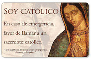 Spanish Catholic ID Card reads Soy Catolico En caso de emergencia favor de llamar a un sacerdote catolico has Spanish Act Of Contrition On Back Wallet Size 3 and 1 quarter inches by 2 inches IDS