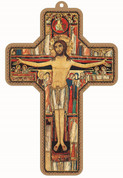 San Damiano Crucifix Imprinted Image With Gold Accents Iconic Style Art on Wood With Hole For Hanging 3 and 1 half by 5 inches EGCROSS35