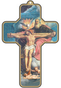 Holy Trinity Crucifix Vibrant Colors  With Gold Accent Border made of Wood measures 3 and 1 half by 5 inches EGCROSS40