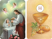 First Communion Girl Receiving the Sacrament from Jesus 2D Holy Card EGA57