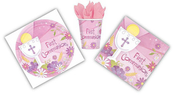 Pink Blessed Sacrament First Communion paper Tableware Set with 18 10 inch plates 18 9 ounce cups and 36 luncheon napkins AN100