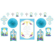 God Bless You First Communion Party Deco Set in Blue Motif Set Includes a garland 2 centerpieces 2 fans 4 cutouts and one poster all made of paper AN240048