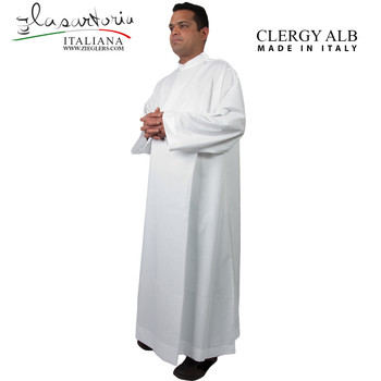 Clergy Priest Alb lightweight made in white cotton polyester cool breathable fabric made in Italy SARALB