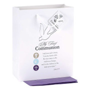 First Communion Gift Bag White With Holy Spirit AND John 6 35 measures 7 and 3 quarters by 4 by 9 and 3 quarters inches includes tissue DIB4026